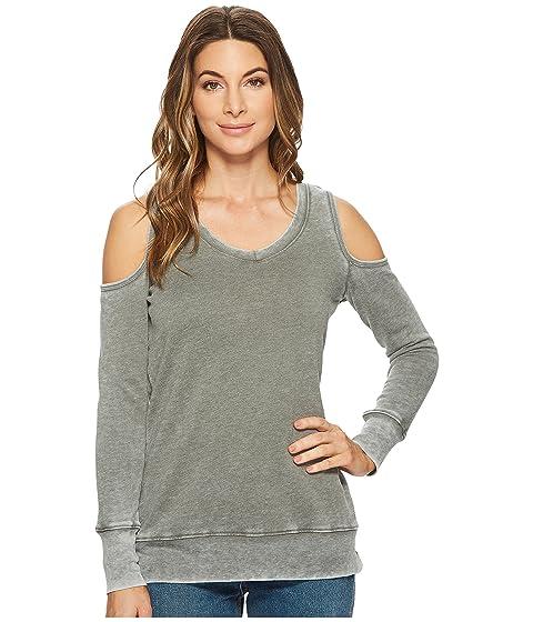ALLEN ALLEN Long Sleeve Cold Shoulder V-Neck Sweatshirt, Cilantro