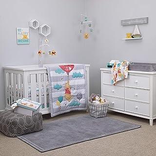 Best Disney Winnie The Pooh First Best Friend 4 Piece Nursery Crib Bedding Set, Aqua/Grey/White/Red Review