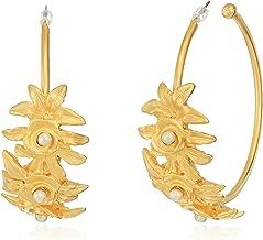 Kenneth Jay Lane Women's Satin Gold Half Hoop Flower Front Earrings