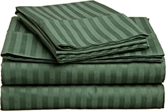 Superior 400 Thread Count 100% Premium Combed Cotton, 4-Piece Bed Sheet and Pillowcase Cover Set, Stripe, Full - Hunter Green