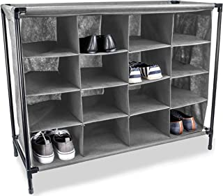 Sunbeam 4 Tier 16 Pair Shoe Rack Cubby Shelf Organizer Non Woven Polyester Fabric Portable and Durable Gray