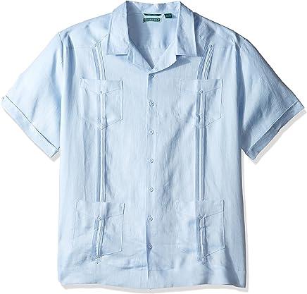 81e78926 Cubavera Men's Short Sleeve 100% Linen Cuban Camp Guayabera Shirt
