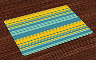Ambesonne Yellow and Blue Place Mats Set of 4, Horizontal Abstract Color Stripes Lines Simplistic Modern Art Print, Washable Fabric Placemats for Dining Room Kitchen Table Decor, Turquoise Teal