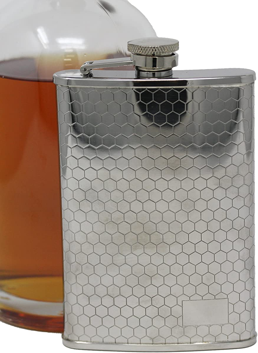 8 oz Pocket Hip Alcohol Liquor Flask in Etched Honeycomb Print - Made from 304 (18/8) Food Grade Stainless Steel