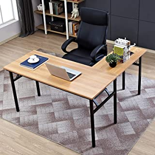 Need 55 inches x 55 inches L-Shaped Folding Computer Desk, One-Step Assembly, L Desk Home Office Desk Workstation Desk, Teak AC11BB