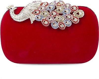 SYMALL Damen Clutch Samt mit Diamanten Funkelnd Kristalle Pfau Schwanz Cocktail Handtasche Eleganter Stil Retro Abendtasche Party Bag Mini Abendkupplungen