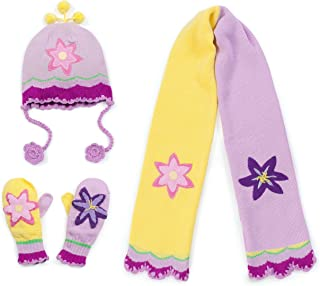 Kidorable Girls' Little Lotus Hat Scarf Mittens Set