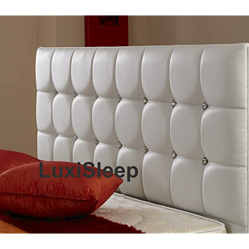 Luxisleeptltd Stylish ''Diamonds UK Standard Headboard Finished In A Luxury Faux Leather Fabric - Available In A Range Of 8 Contemporary Colours,3ft,4ft,4ft6,5ft and 6ft (4ft, White)