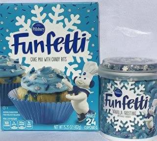 Pillsbury Funfetti Winter Cake Mix 15.25 oz & Blue Vanilla Frosting w/Snowflake Sprinkles 15.6 oz Winter Bundle
