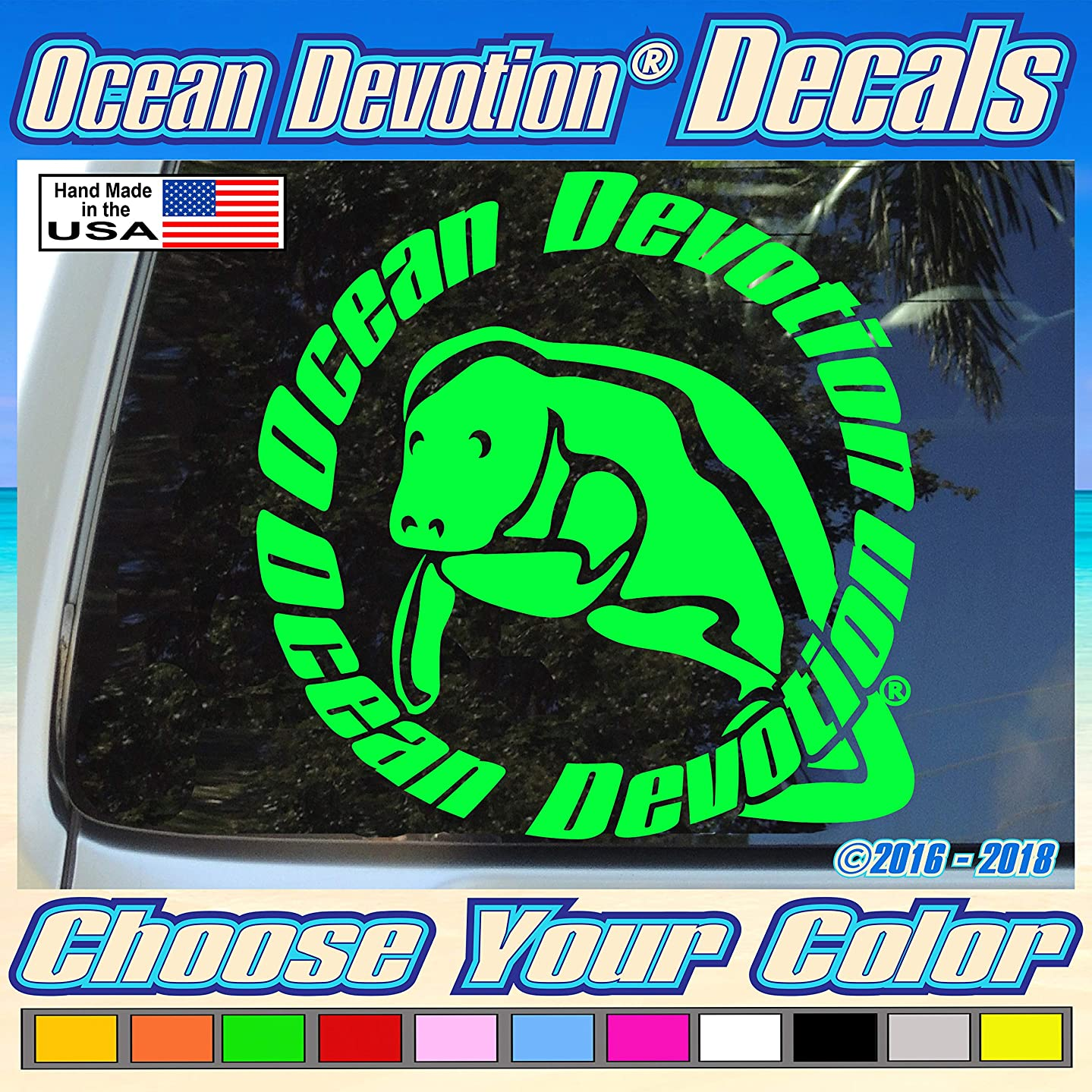 "Manatee V3 ""Ocean Devotion?"" Vinyl Decal/Sticker 8w x 5h inches - Keywords... Salt Life, Reel Life, Beach Life, Sea Life, Surf, Surfing, Fishing, Automobile, Car, Truck, Boat, Window, Hobie Cat"