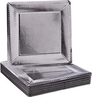 DISPOSABLE SQUARE CHARGER PLATES - 20 pc (Metallic/Silver)