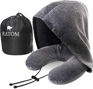 [RATOM] ネックピロー 低反発 昼寝枕 携帯枕 旅行 大きなフードで寝顔気にせず快眠