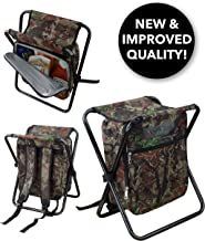 GigaTent Folding 3 in 1 Stool Backpack Folding Stool with Cooler Bag - Camping Hunting Fishing Multifunction Collapsible Camping Seat and Insulated Ice Bag with Padded Shoulder Straps