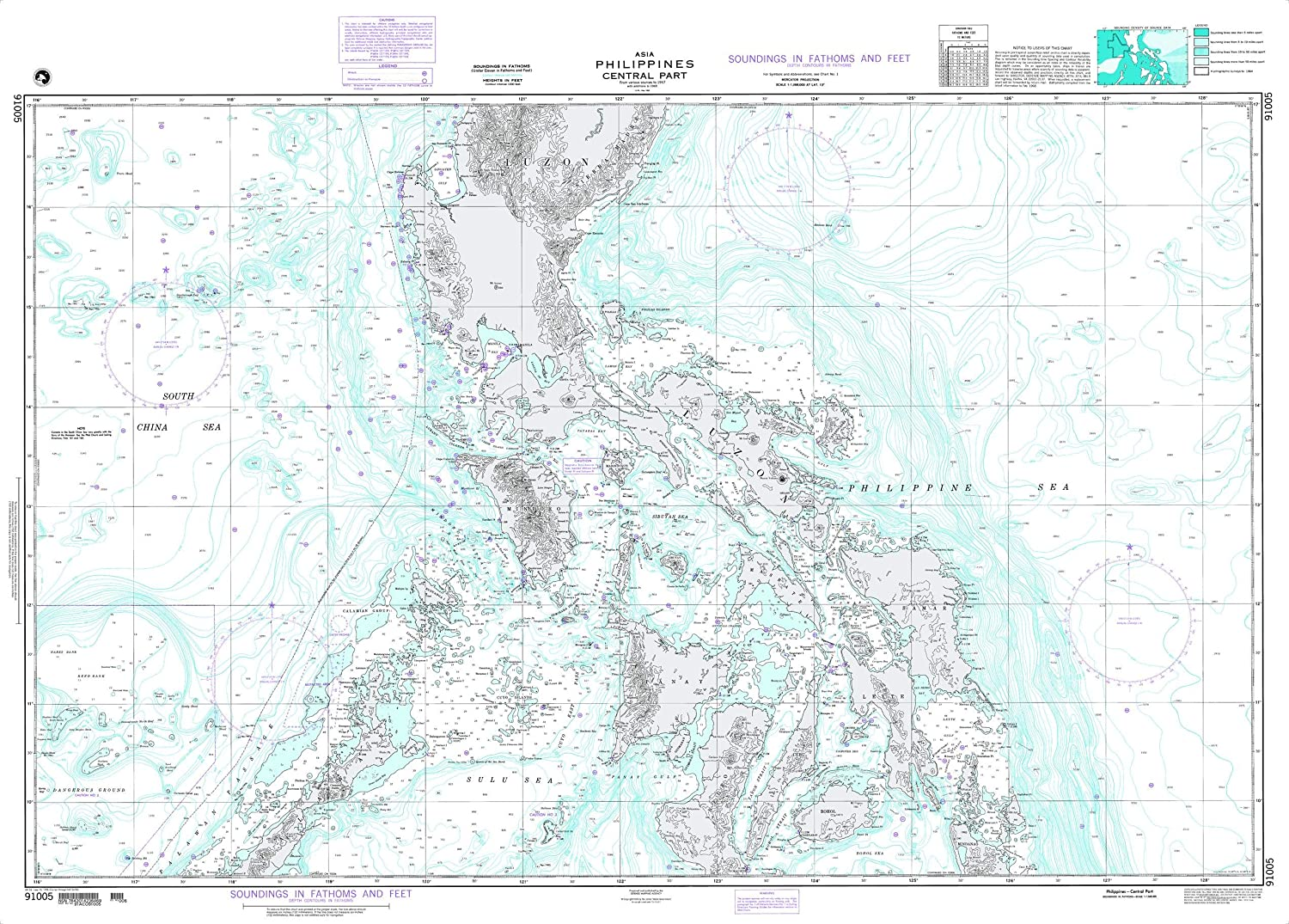 NGA Chart 91005 Philippines Central Part 53  x 38  Paper Chart