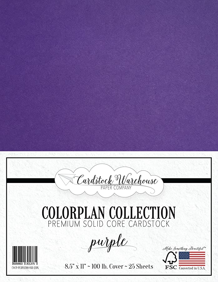 Purple Cardstock Paper - 8.5 x 11 inch Premium 100 lb. Cover - 25 Sheets from Cardstock Warehouse