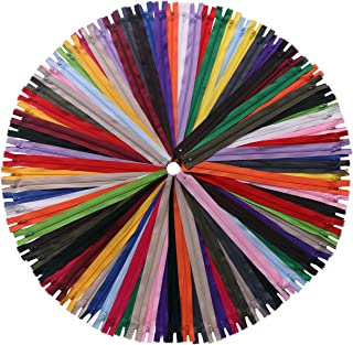 YAKA 60 Pack of 14 inch Mix Nylon Coil Zippers Bulk - Supplies Zippers for Tailor Sewing Crafts (20 Color) (14 inch-Pack o...