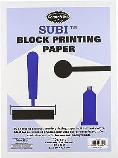 Melissa & Doug Scratch Art Subi Block Printing Paper (9 x 12 inches), White - 40 Sheets