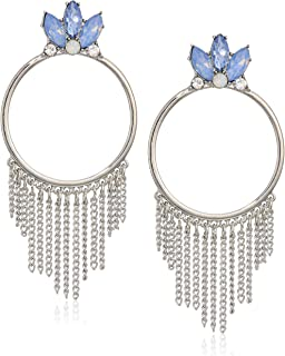 GUESS Women's Fringe Post Drop Earrings with Stones, Silver, One Size