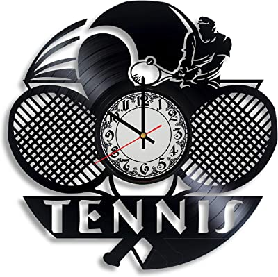 Tennis Art - Wall Clock Tennis Gifts Women Tennis mom Gift Tennis Vinyl Tennis Party Favors Sport Room Decor Vinyl Record Clock Ball Wall Art Wimbledon