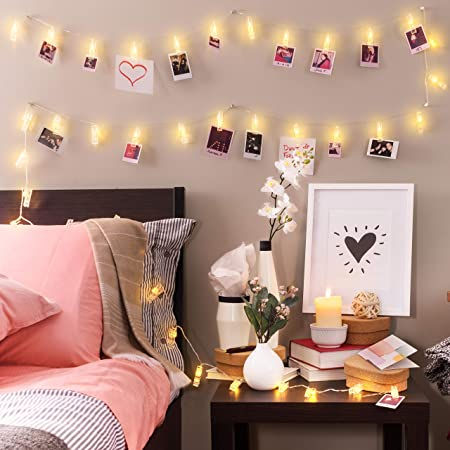 Amazon Com Photo Clip String Lights 16 4ft 40 Led Remote Battery Powered Gift For Teen Girl Cute Teenage Vsco Stuff As Room Decor Warm White Fairy