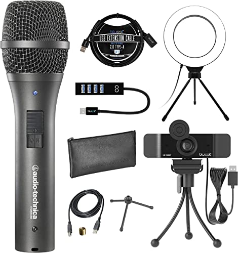 """discount Audio-Technica AT2005USB Cardioid Dynamic USB/XLR Microphone for PA Systems, Windows and Mac Bundle with Blucoil 1080p USB Webcam, 6"""" Ring popular Light, USB-A Mini Hub, and 3' USB popular Extension Cable sale"""