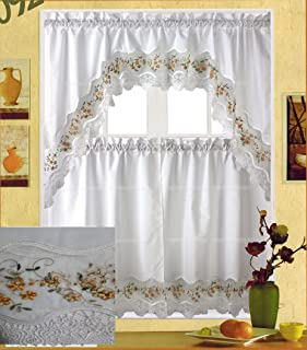 Fancy Collection 3pc White with Embroidery Floral Kitchen/cafe Curtain Tier and Valance Set 001092 (Gold)