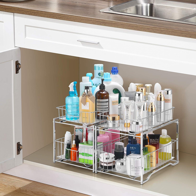 Buy Simple Trending Stackable 2 Tier Vertical Bathroom Storage Under Sink Cabinet Organizer Toilet Vanity Organizer Drawers Chrome Online In Indonesia B088pg16sx