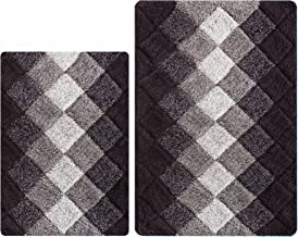 Antiskid Bath Rugs for Bathroom, Set 2 Piece in 100% Cotton Albany Inspired Bath Rugs 21x32/17x34, Brown Beige Combo,Cotto...