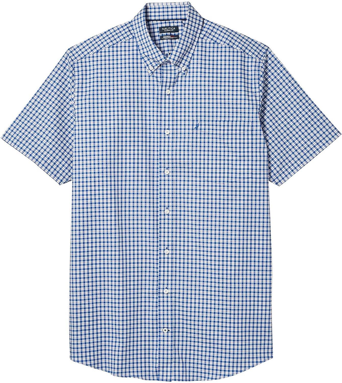Nautica Tall Men's Big & Tall Short Sleeve Wrinkle-Resistant Plaid Button-Down Shirt, Windsurf Blue, 2X Big