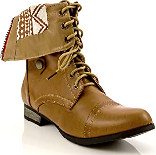 Charles Albert Women's Cablee Combat Boot with Fold-Over Cuff