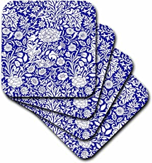 3dRose William Morris Cherwell Chintz Pattern in Royal Blue and White-Soft Coasters, Set of 4 (CST_219031_1)