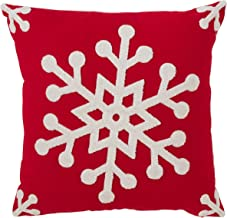 SARO LIFESTYLE Bonnes Fêtes Collection Cotton Blend Down-Filled Throw Pillow with Snowflake Design, 18,