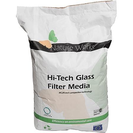 Verre filtrant Hi-Tech de Nature Works (20 kg) pour les installations de filtration par sable pour piscines, en verre naturel, cristallin, alternative écologique au sable, grain Ø : 0,8 mm