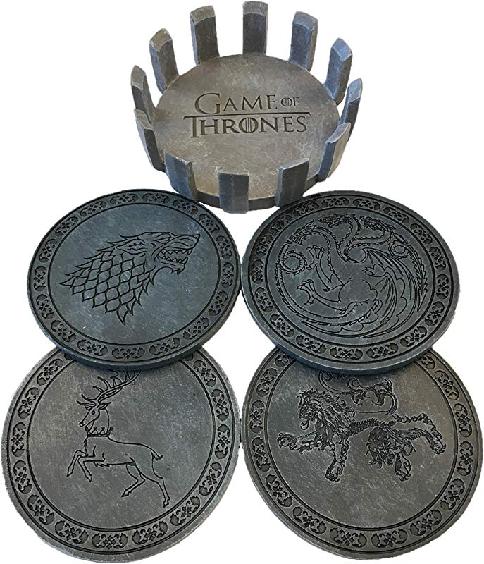 Game Of Thrones Drink Coaster Set With Holder House Sigil Beverage Coasters Set Of Four Faux Sandstone Coasters Cork Backed