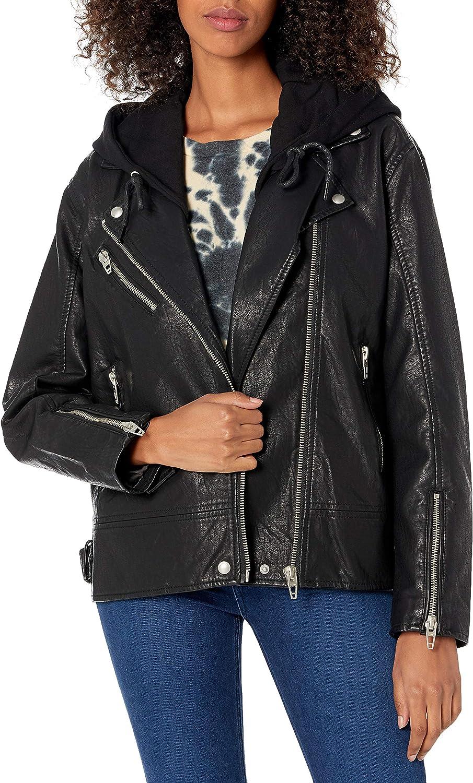 [BLANKNYC] womens Women's Vegan Leather Hooded Moto Jacket
