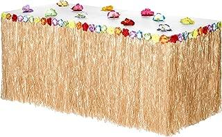 Hawaiian Luau Grass Table Skirt: BONUS 12 Hibiscus Flowers | EXTRA THICK| Includes Adhesive | Perfect Beach, Tiki, Tropical, Island, Party, Luau Decoration 9ft