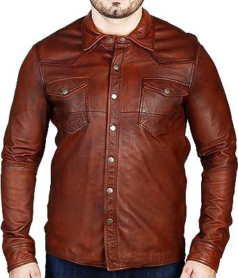 Camisa de cuero genuino para hombre marrón chaqueta suave piel de cordero lavado encerado cuero real, marrón