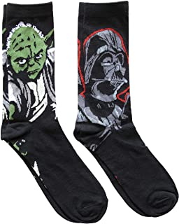 Star Wars Darth Vader and Yoda Men`s Crew Socks 2 Pair Pack Shoe Size 6-12