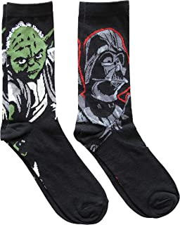 Darth Vader and Yoda Men's Crew Socks 2 Pair Pack Shoe Size 6-12