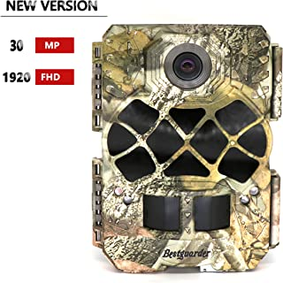 """Bestguarder Trail Camera, 30MP 1920P HD Waterproof Wildlife Hunting Scouting Game Camera with 140°Detecting Range Motion Activated Night Vision 2.0""""LCD 42Pcs IR LEDs"""
