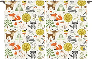 Ambesonne Girls Boys Kids Baby Lover Decor Collection, Woodland Forest Animals Trees Birds Owls Fox Bunny Raccoon Mushroom, Window Treatments for Kids Bedroom Curtain 2 Panels Set, 108X63 Inches