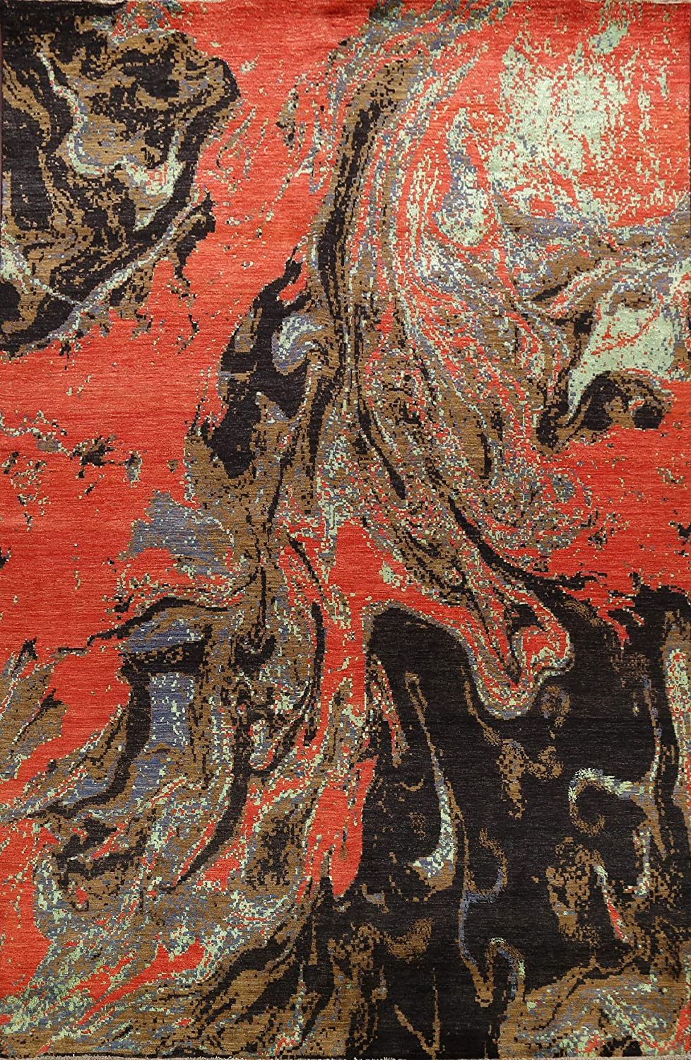 Contemporary Abstract Vegetable Dye Popular brand Oriental Wool Silk Rug Bombing new work Area