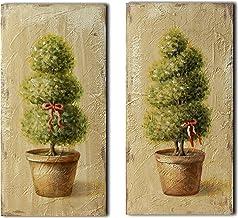 CVHOMEDECO. Primitive Vintage Hand Painted Wooden Frame Wall Hanging 3D Painting Decoration Art, Tree in Terracotta Desig...