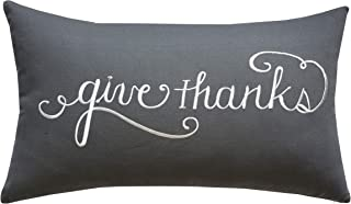 ADecor Pillow Covers Thank You Pillowcase Embroidered Pillow Cover Decorative Pillow Standard Cushion Cover Gift Love Couple Wedding Housewarming P337 (14X24, Give Thanks(Grey))