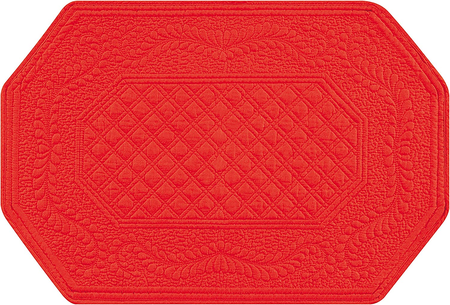 C&F Home Red Octagonal Patriotic 4th of July Memorial Day Labor Day Americana Liberty Decor Decoration Cotton Placemat Set of 4 Rectangular Placemat Red