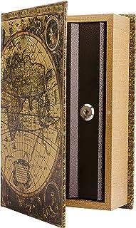 BARSKA CB12480 Antique Map Diversion Book Lock Box, Multi