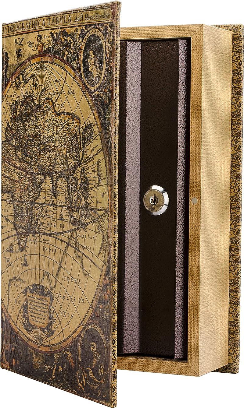 BARSKA Antique Map Diversion Book Lock Box, Multi