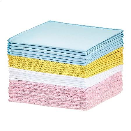 Amazon Basics Multi-Purpose Microfiber Cleaning Cloth Bundle - 24-Pack, Assorted Colors