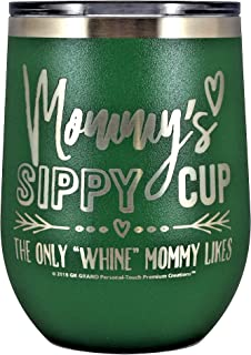 MOMMYS SIPPY CUP WINE GLASS GIFT TUMBLER – Engraved Stainless Steel Stemless Wine Tumbler 12 oz Vacuum Insulated Travel Coffee Mug Hot Cold Drink Mothers Day Christmas Birthday Mom (Green)