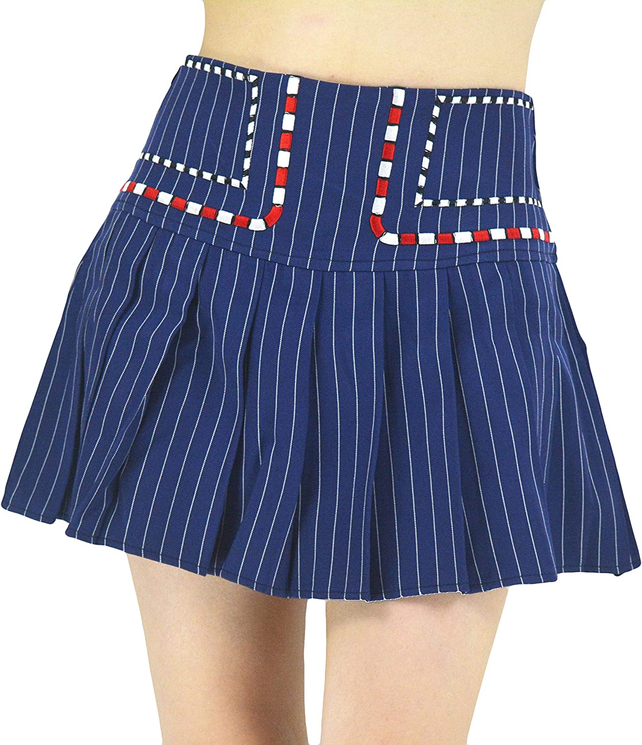 YSJERA Women's High Waisted Pleated Mini A Line Skater Skirts with Pockets Solid Color